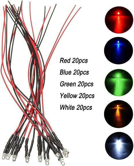 100pcs 5mm Blue LED 12V DC 20cm PRE Wired 12v 5MM BLUE Led Light Lamp Bulb New