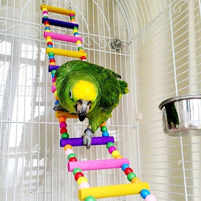Gxklmg Escalada Escalera de Madera del Juguete por un Periquito Cockatiel, pájaros del Amor Finch Gris Africano Macaw del Amazonas Jaula Perch