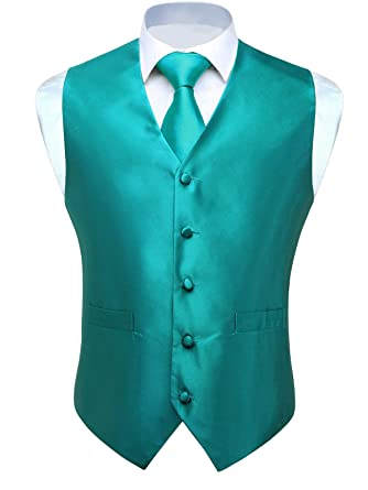 5084708638b59 HISDERN Men's Solid Check Jacquard Waistcoat & Necktie and Pocket Square  Vest Suit ...