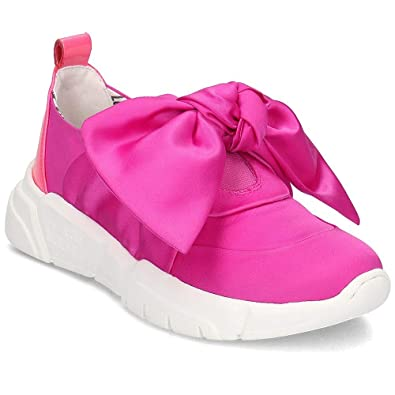 Love Moschino Chaussures Femme Baskets Satin Fuchsia avec