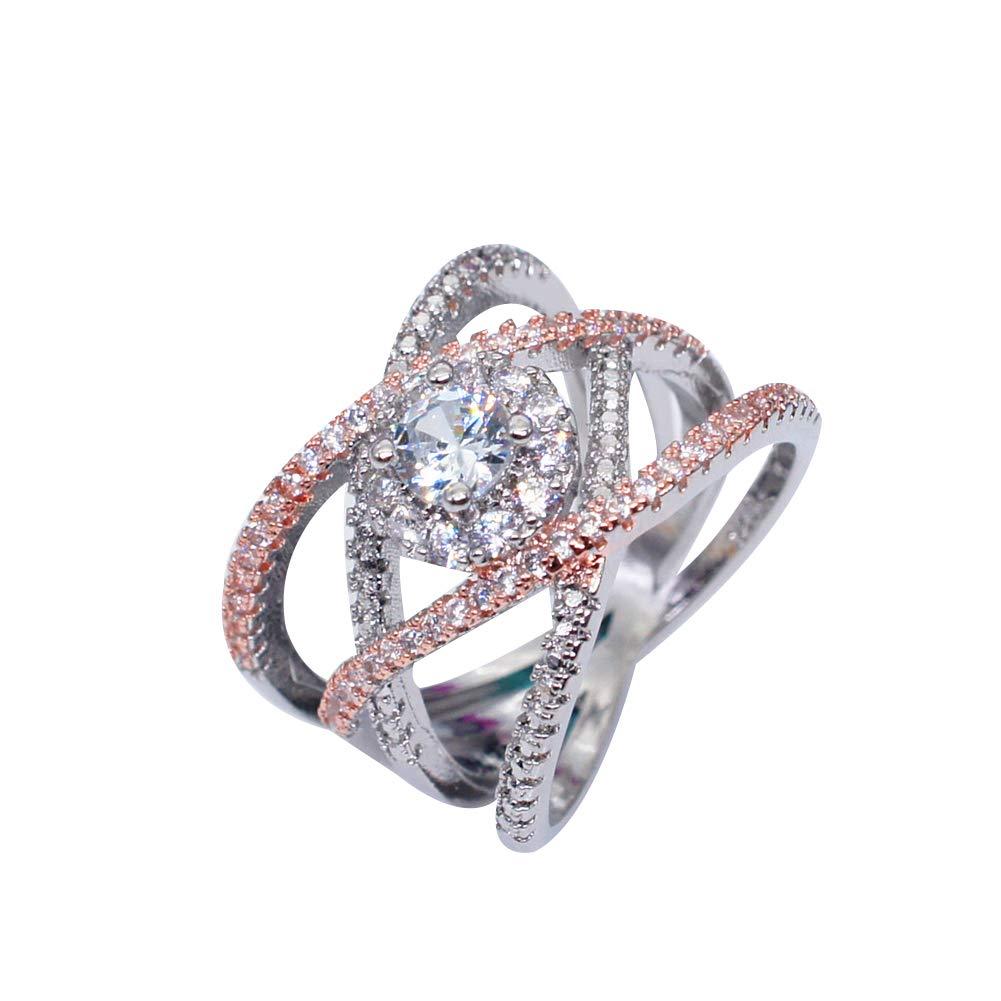 Slendima Novelty Rose Gold Cross Rhinestone Ring Women Engagement Wedding Promise Jewelry Festival Gift Rose Gold US 6