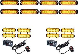 8PCS Ultra Slim 6-LED 18W Emergency Hazard Caution Surface Mount Strobe Light & 8pcs 4-LED Car Truck Grille Deck Dash Flashing Light Control Box- Amber