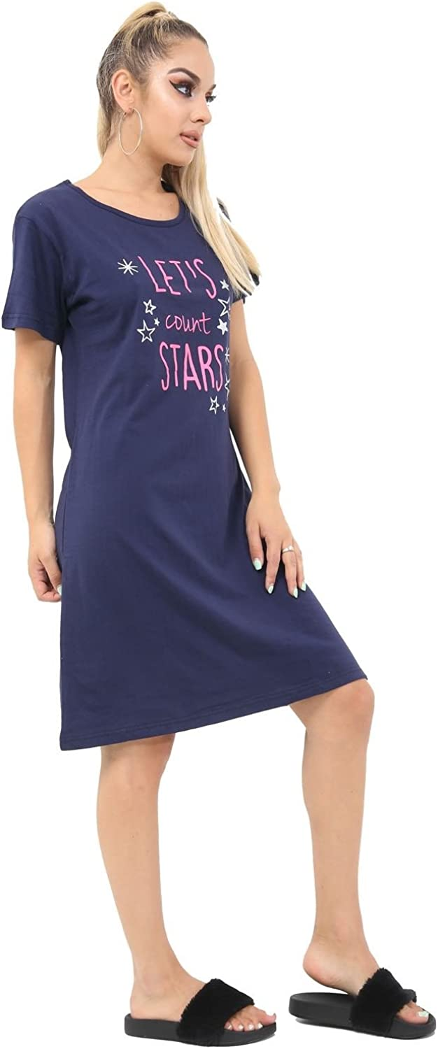 Red Olives/® Women Ladies Slogan Dont Let Anything Dull Your Sparkle /& Lets Count Star Print Nightie Nightwear Cotton Knee Length Bedtime T-Shirt Top UK 8-14