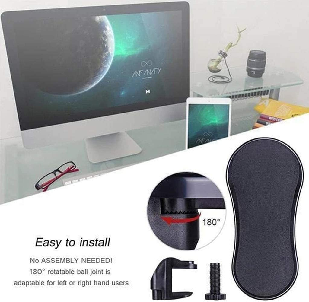 Universal Clamp-on Sturdy Mouse Arm Rest Arm Rest Support for Desk and Chair Ergonomic Adjustable PC Wrist Rest Extender Katewolf Rotating Computer Arm Rest Pad