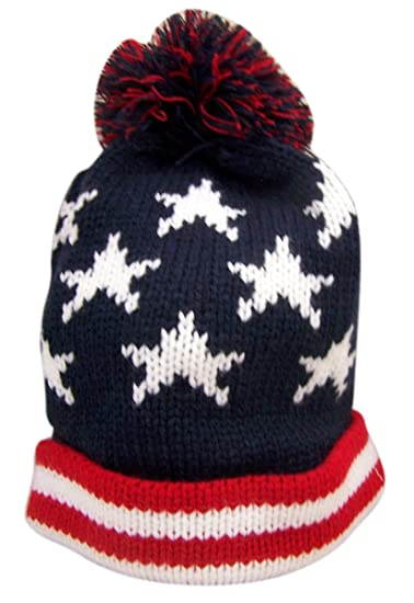 Red White and Blue Patriotic American Flag Knit Cuffed Beanie Hat at ... 6935f4a04c6