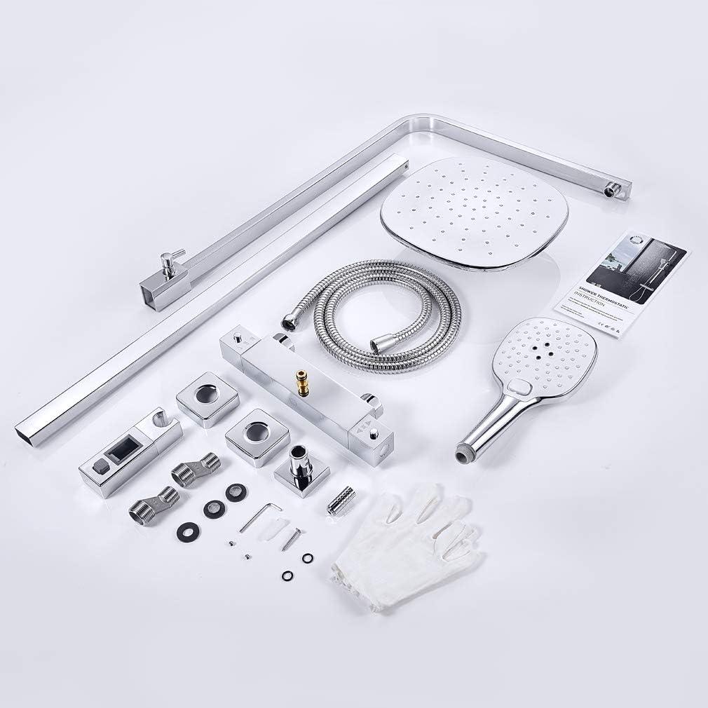 Duschset inkl 80-120 CM Verstellbare Duschstange f/ür Badzimmer 2 Funktionen mit /Überkopfdusche 24x24cm Eckig und 3-Fach Verstellbare Handbrause CECIPA Duschsystem mit Thermostat Regenduschset
