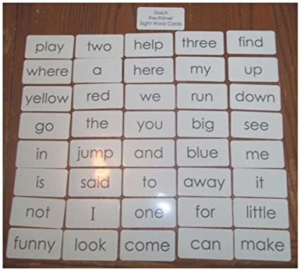 Dolch Pre-Primer sight word flash cards  Preschool and PreK educational  phonics