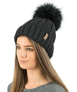 b39dd9870f3 TOSKATOK Ladies Womens Winter Rib Seed Stitch Beanie Bobble Hat with Warm  Cosy Fleece Liner