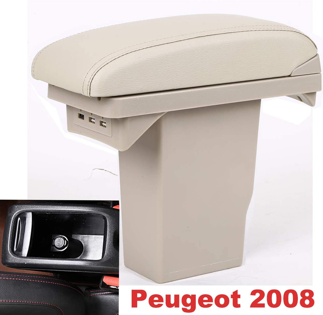 Gray Double Layer Console Armrest Box for 2008 With 3 USB Port