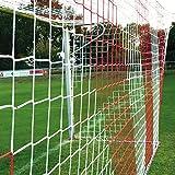 Donet Fußballtornetz 7,5 x 2,5 m Tiefe oben 0,80/unten 2,00 m, zweifarbig, PP 4 mm ø, rot/weiß