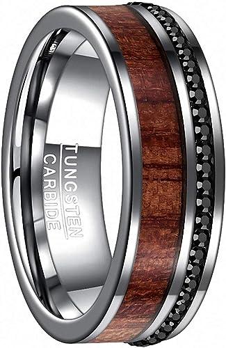 8mm Black Tungsten Carbide Red Wood Inlay Men/'s Wedding Band
