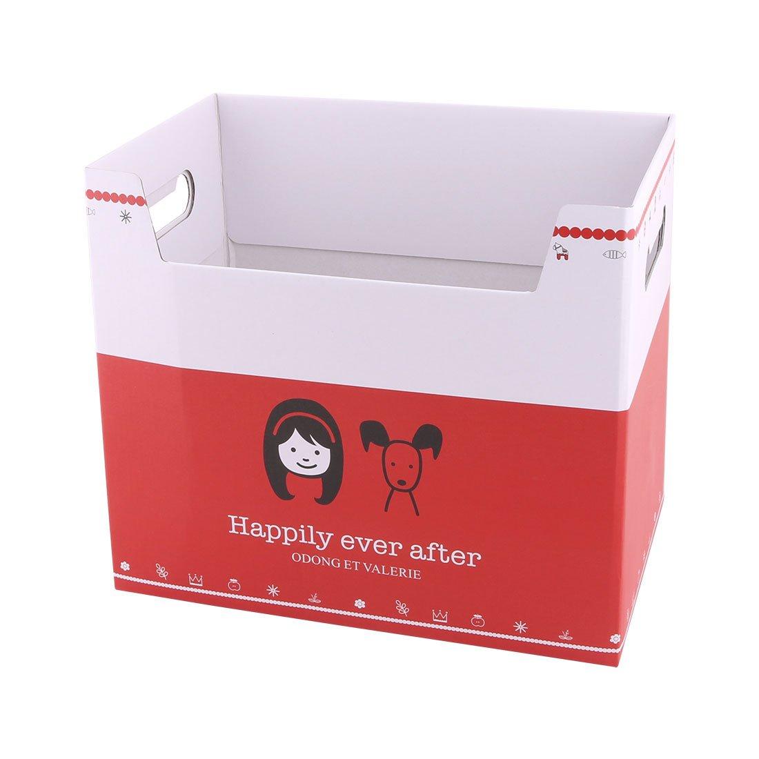 uxcell Paper Girl Pattern School Office Rectangular DIY File Documents Book Holder Storage Box