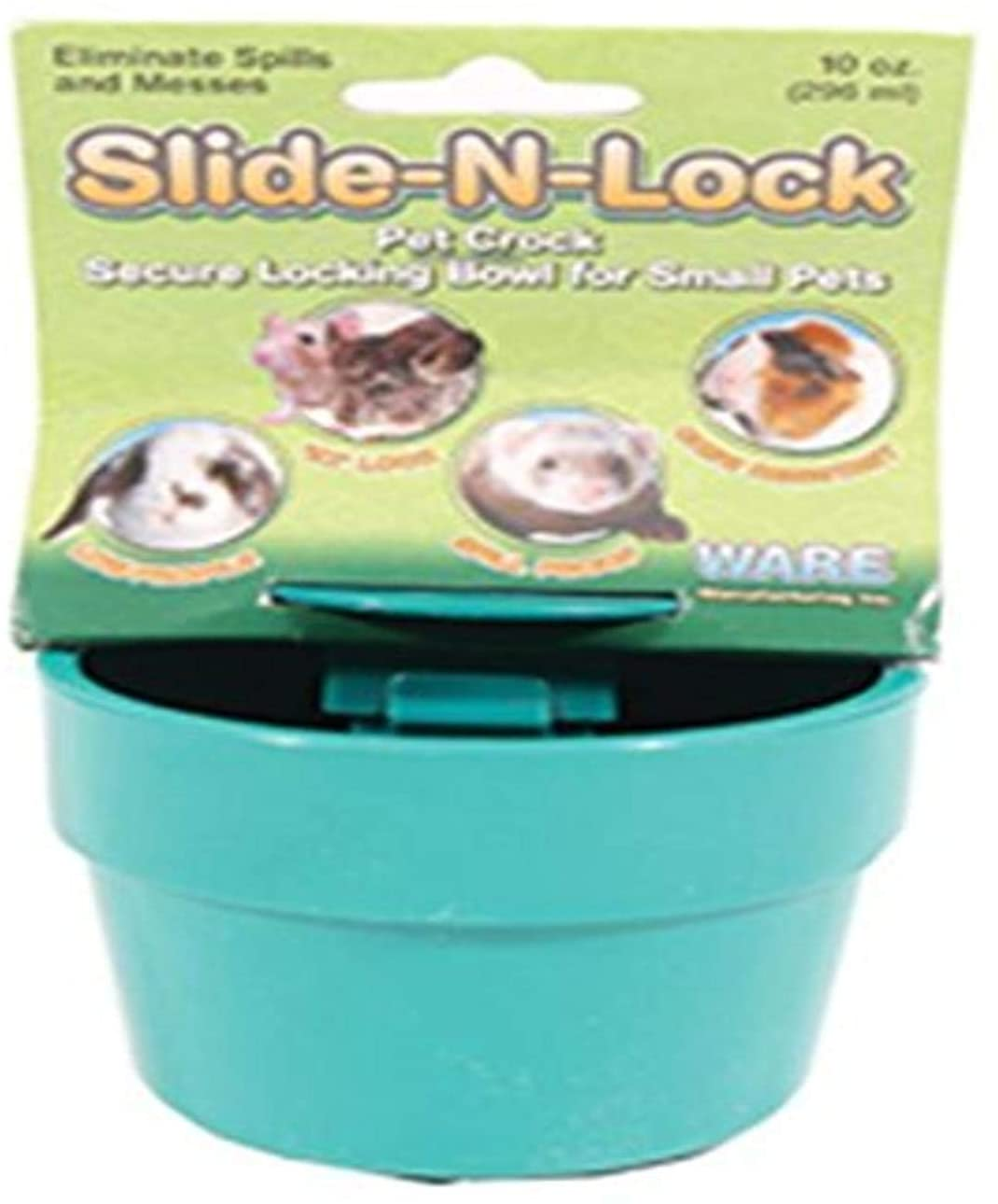 Ware Manufacturing Ware Plastic Slide-N-Lock Small Pet Crock, 10 Ounce, Assorted Colors
