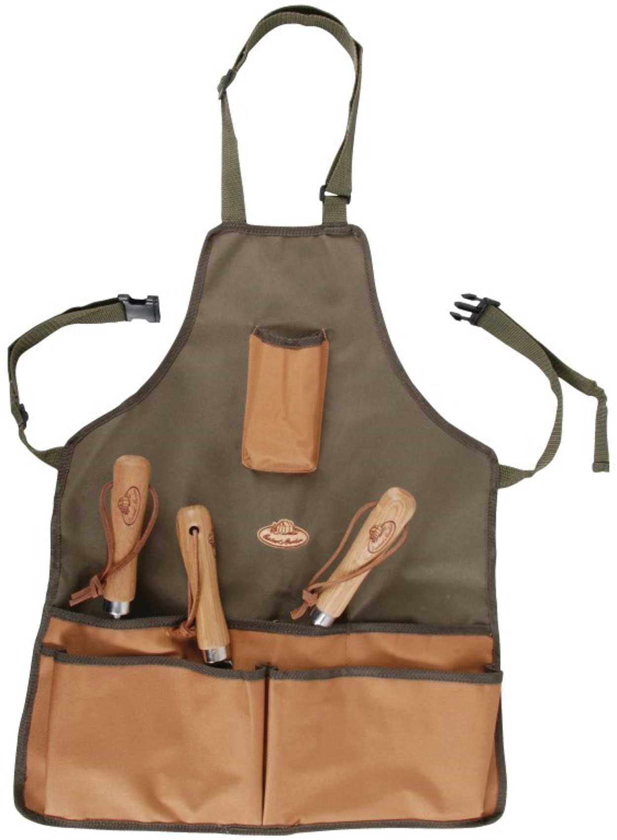 Durable Outdoor Gardening Tool Apron Adjustable 5 Pockets (Khaki & Brown)