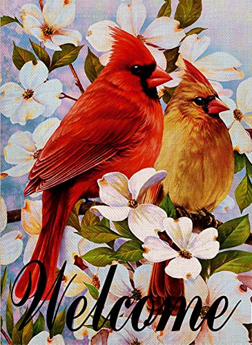 Dyrenson Cardinal Garden Flag Double Sided, Home Decorative Welcome Red Bird House Yard Flag, Floral Pansies Lily Decorations, Flower Seasonal Outdoor Flag 12 x 18 for Summer Spring