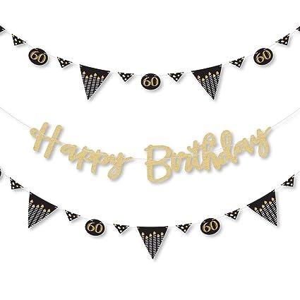 Amazon.com: Big Dot of Happiness Adulto 60 cumpleaños – oro ...