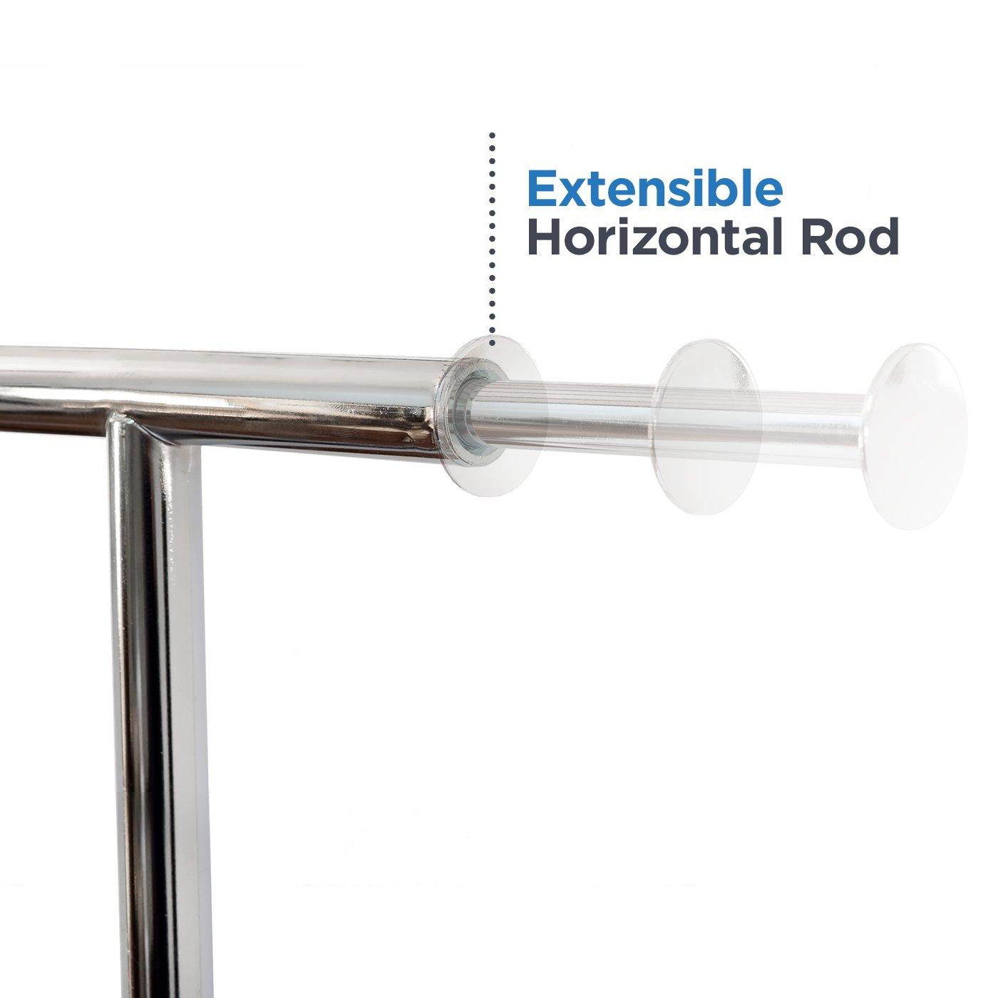 Basics Hardware Elegant Commercial Grade Clothing Garment Rack Extendable Hanging Rack Chrome Rolling Rack