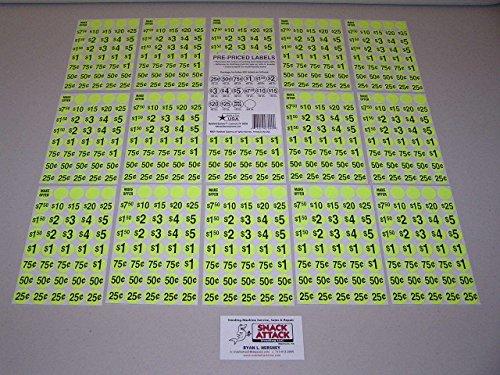 - (600) SNACK & SODA VENDING MACHINE PRICE LABEL STICKERS (Yellow) /!