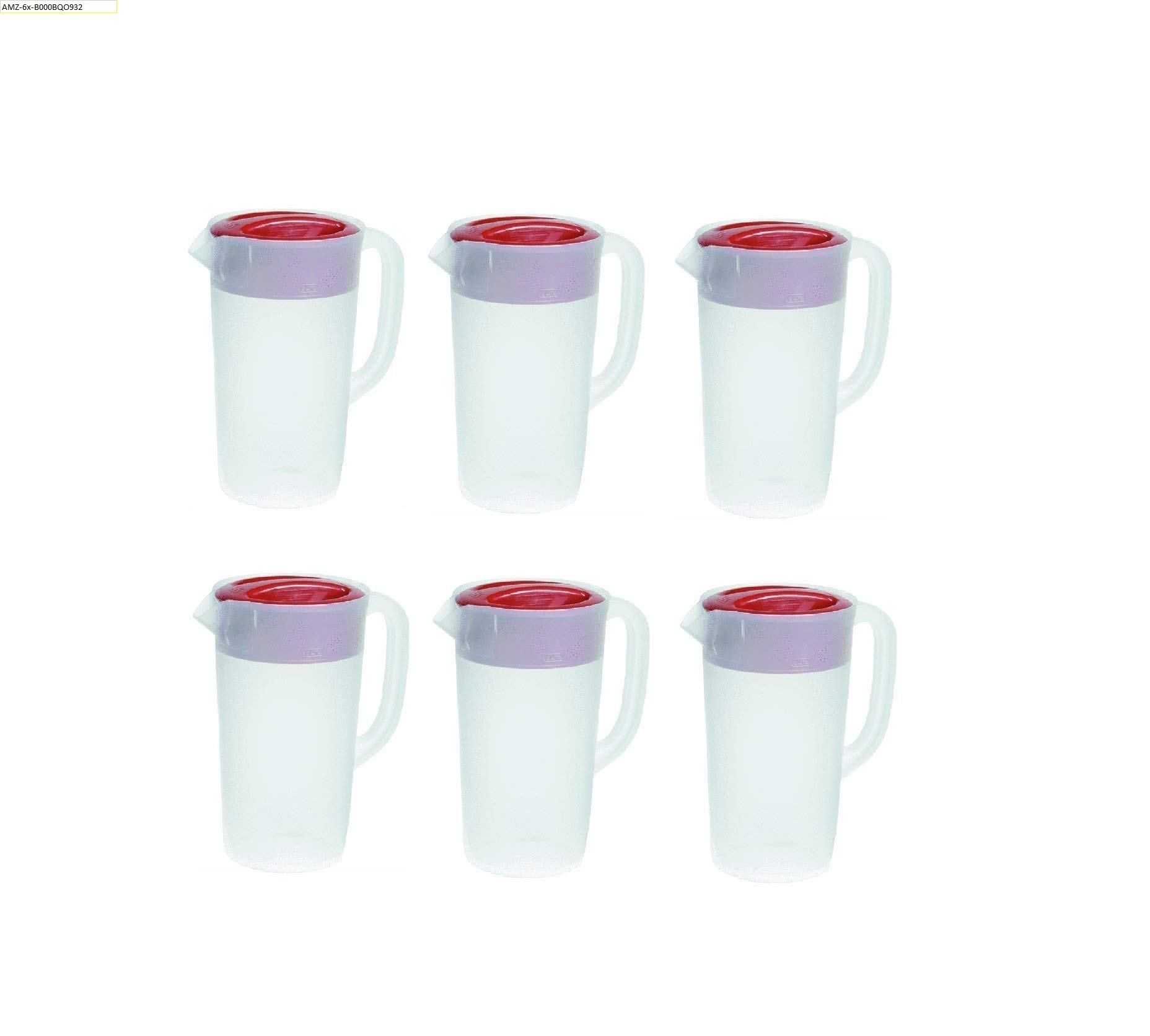 Rubbermaid 30621-4 712395881415 Pitcher 2.25 Qt-White with Red Cover Pack of 6, 6 Pack,