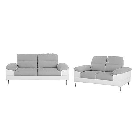 Beliani Conjunto de sofás tapizado Gris para 5 Personas ...