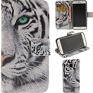 Galaxy S7 Case,OYYC Samsung Galaxy S7 Case [White Tiger] [Kickstand Feature] Luxury Wallet PU Leather Folio Wallet Flip Case Cover Built-in Card Slots for Samsung Galaxy S7