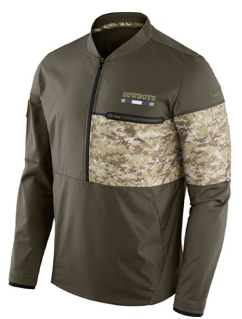 Dallas Cowboys Nike Salute to Service Sideline Hybrid Half-Zip Pullover Jacket (Large)
