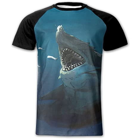 066e6a2874 Mens Wicked Nasty Shark Fashion Raglan Short Sleeve T-Shirt Baseball Tee