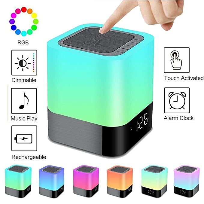 Review Aisuo Night Light - 5 in 1 Bedside Lamp with Bluetooth Speaker, 12/24H Digital Calendar Alarm Clock, Touch Control & 4000mAh Battery, Support TF and SD Card, the Best Gift for Kids and Friends.
