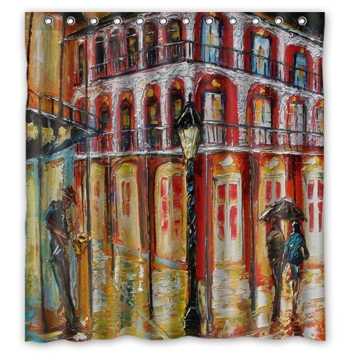 Custom Artistic Designer New Orleans French Quarter Shower Curtain Stylish Waterproof Polyester Fabric Bathroom Deco - Clothing French Quarter