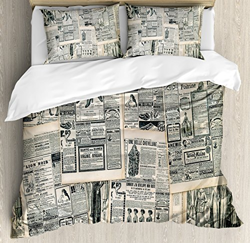 Ambesonne Antique Duvet Cover Set, Vintage Style Sepia Toned Newspaper Print with Old Fashioned Illustrations, Decorative 3 Piece Bedding Set with 2 Pillow Shams, King Size, Beige Green