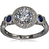 Amazon Collection Platinum-Plated Sterling Silver Swarovski Zirconia Antique Round-Cut and Created Sapphire Ring