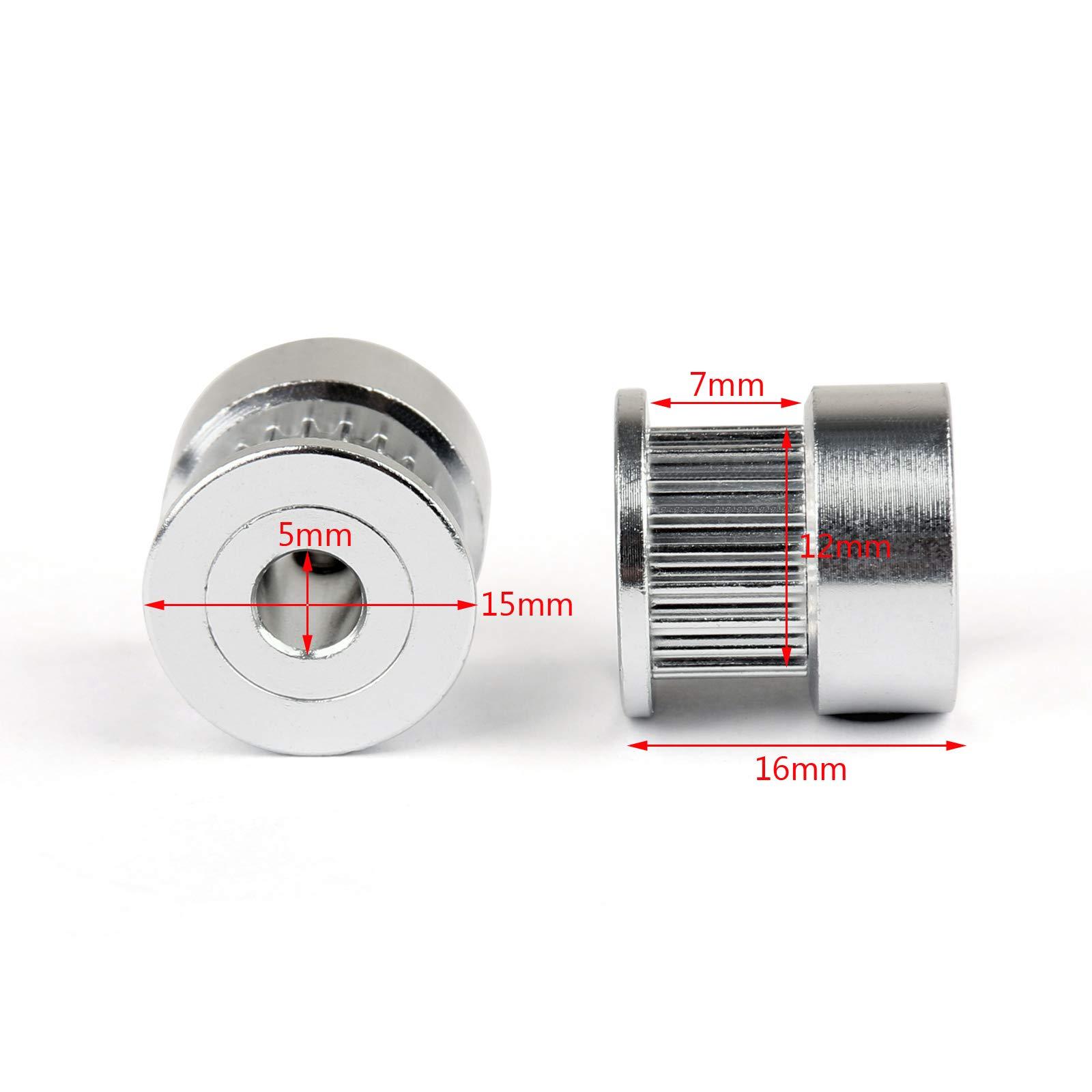 Areyourshop 20Pcs GT2 20T 5mm Bore Aluminum Timing Belt Pulley for 3D Printer Parts