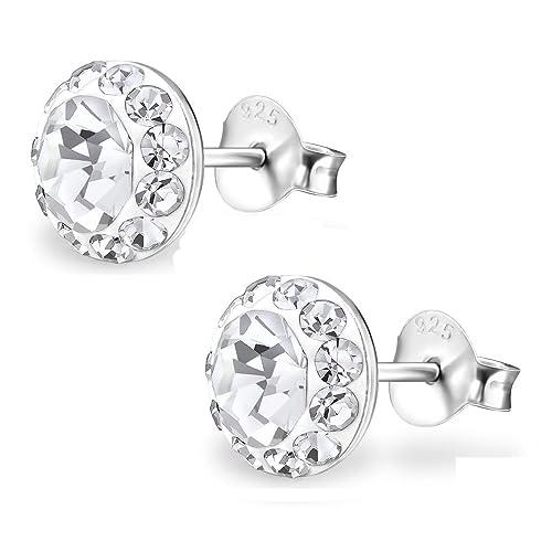 Ohrstecker mit klarem Kristall Silber aus Edelstahl Damen Frauen Herren Ohrringe