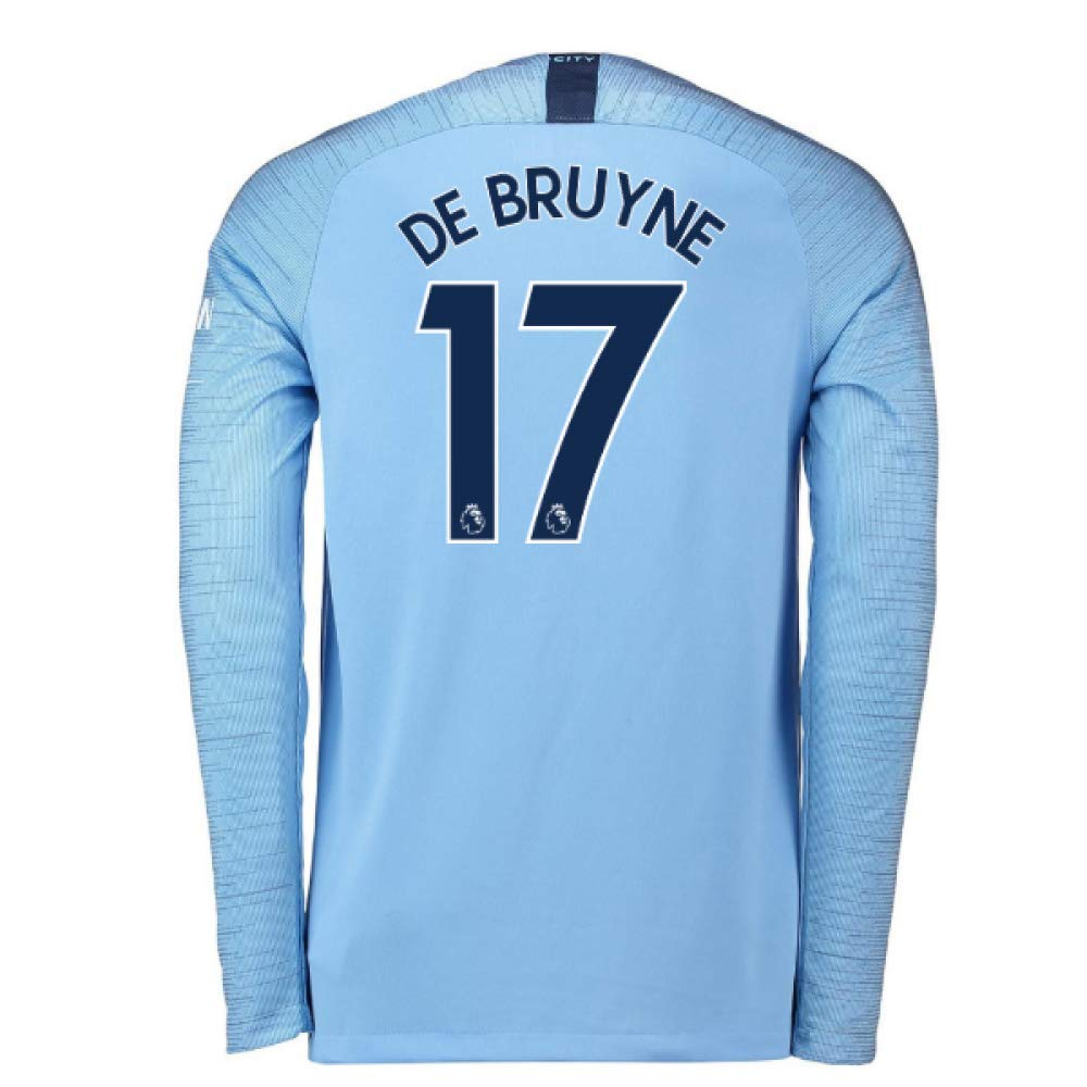 2018-2019 Man City Home Nike Long Sleeve Football Soccer T-Shirt Camiseta (Kevin De Bruyne 17) UKSoccershop