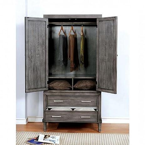 Beckenham Nautical Wardrobe/TV Armoire 36 Inch Wide In Weathered Grey