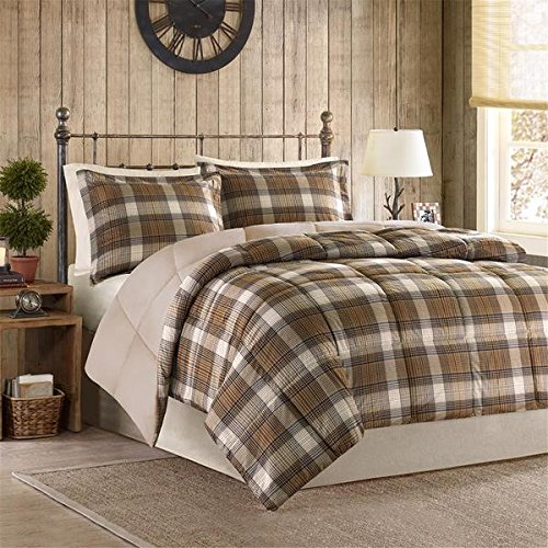 3 Piece Classic Cabin Brown Plaid Comforter Full Queen Set, Lumberjack Beige Taupe Tan Madras Plaid Bedding Lodge Pattern Hunting Themed Tartan Southwest Log Cottage, Cozy Warm Polyester (Plaid Comforter Brown)