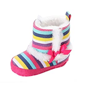 Alonea Baby Toddler Infant Girl Snow Boots Soft Sole prewalker Crib Shoes (11, Multicolor)