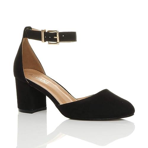 Women/'s Ex MNS Stiletto Heel Platform Patent Court Shoes Black Beige RRP £25