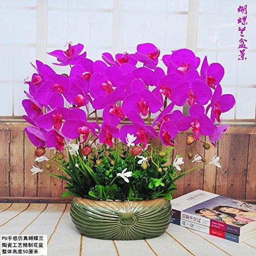 GBHNJ False Purple Mariposas Decoración Jarrón De Orquídeas Artificial Ef
