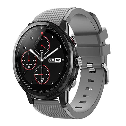 Cywulin Silicone Sports Band for Huami Amazfit Stratos 2 and 2S Xiaomi Amazfit Bip BIT PACE, 22mm Smartwatch Replacement Strap for Samsung Galaxy ...