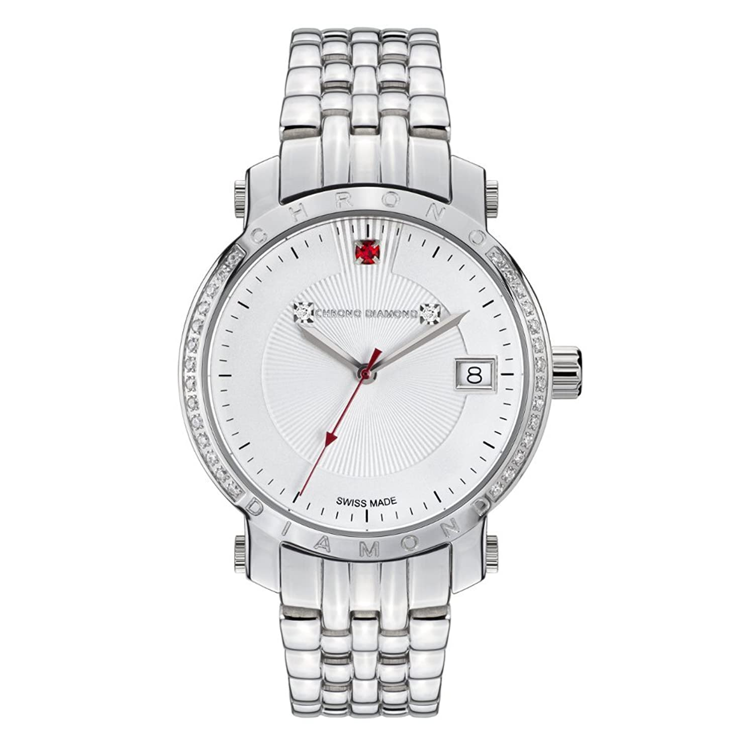 10610A Chrono Diamond Damenuhr Nesta Stahl Silber Red Stone