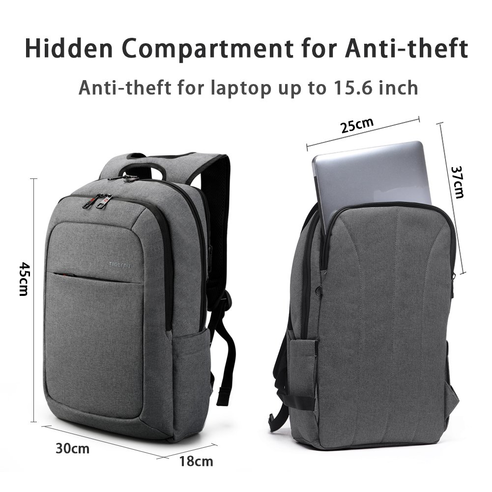 5635bb5f3f32 Amazon.com  Tigernu Slim Business Laptop Backpacks Anti Thief Tear Water  Resistant Travel Bag fits up to 15 15.6 Inch Computer Backpack in Gray  (Dark Grey)  ...
