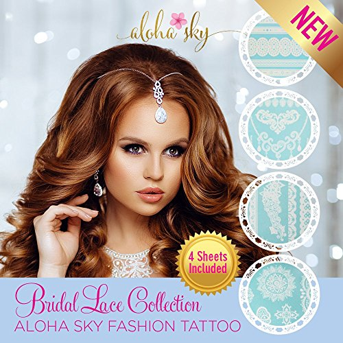 [Aloha Sky Bridal Lace Temporary Tattoos | Wedding Favor for Guests, Bridal Gifts, Flash Tattoo Wedding] (Best Womens Comic Con Costumes)