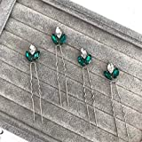 Set of emerald hair pins