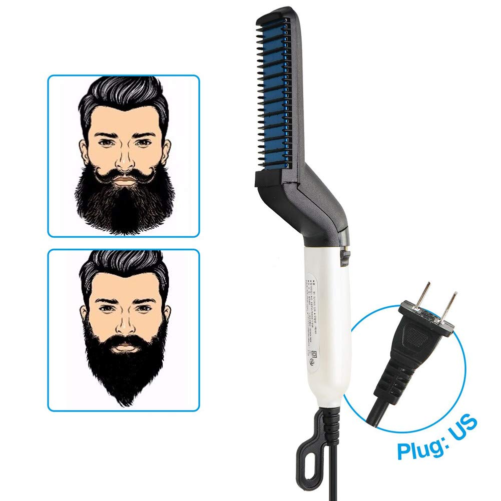 Beard Straightener for Men 2019, Quick Straightening Heat Brush Comb Ionic For Home Travel 2 in 1 Multifunctional Straighten with Anti Scald