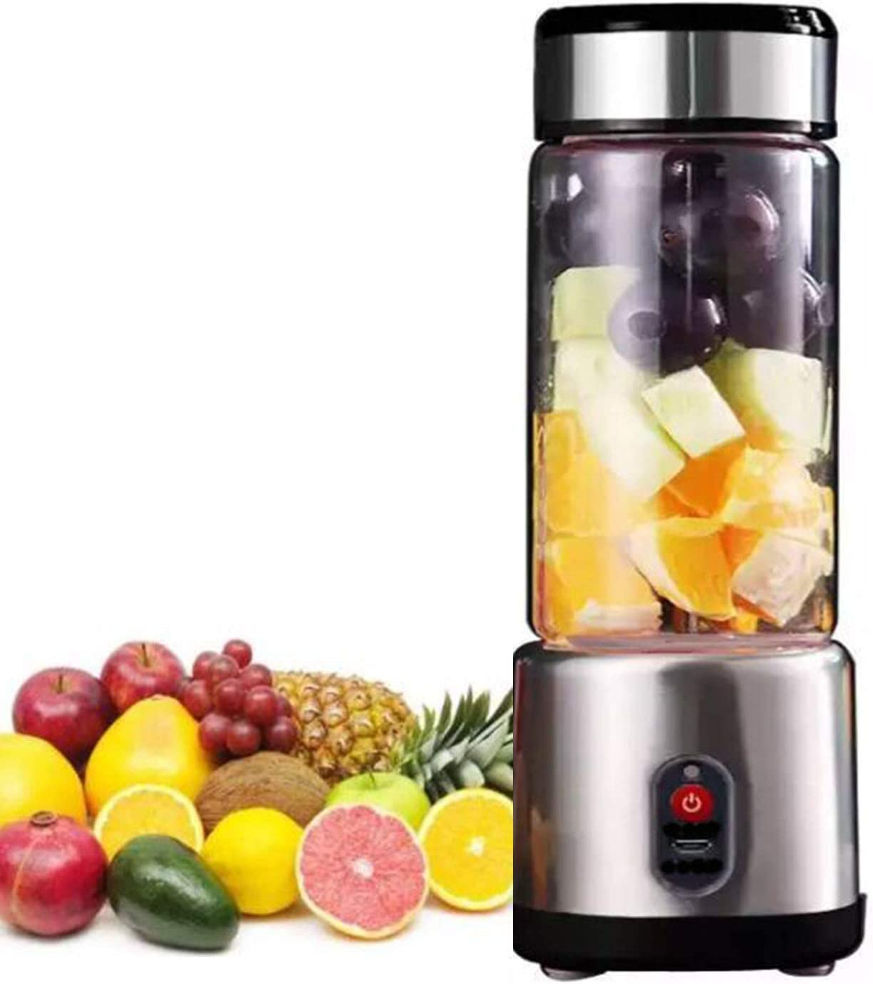 OOFAH Juicer- Portable Blender, Stainless Steel and Glass Body, with USB Rechargeable, Mini Juice Mixer for Shakes Smoothies Home Outdoor
