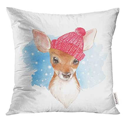 Amazon Com Upoos Throw Pillow Cover Animal Baby Deer Hand Drawn
