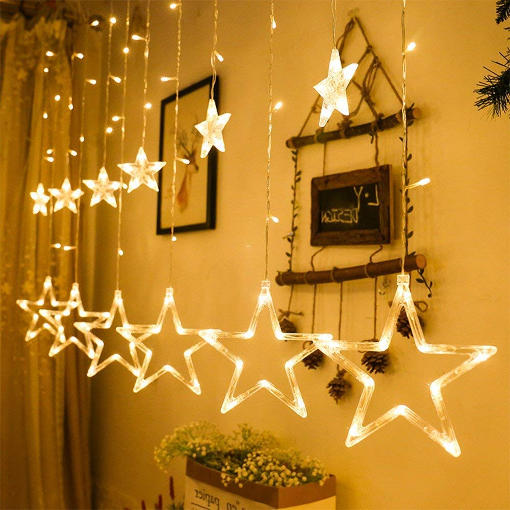 Marchpower LED Star String Lights, Star Curtain Light 12 Stars 138 LED Window Curtain Lights with 8 Flashing Modes Warm White Energy Saving Lights for Christmas, Wedding, Party, Home, Patio Lawn