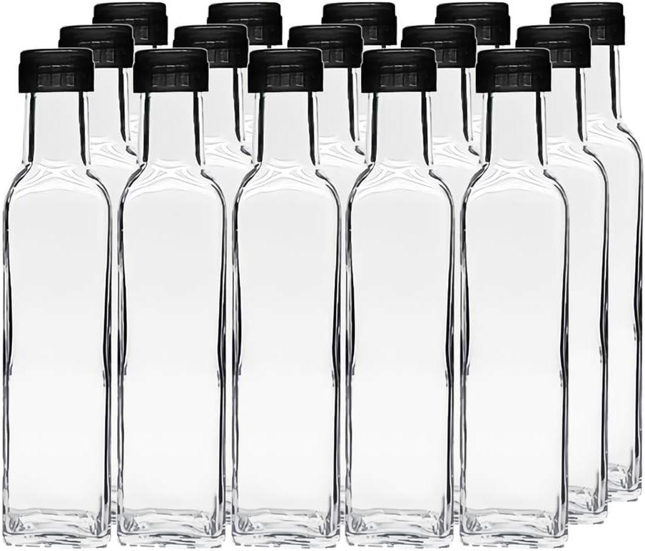 Kingrol 15 Pack 8.5 oz Quadra Bottles with Leak Proof Screw Caps, Hot Sauce Bottles, Glass Square Bottles for Oil, Vinegar, Syrup, Salad Dressing
