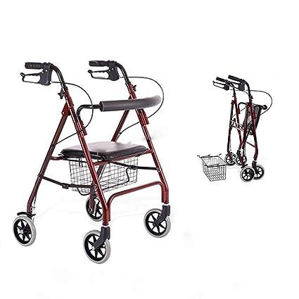 ENDJYO Andador con Ruedas Enrollable De Aluminio, Andador Plegable ...